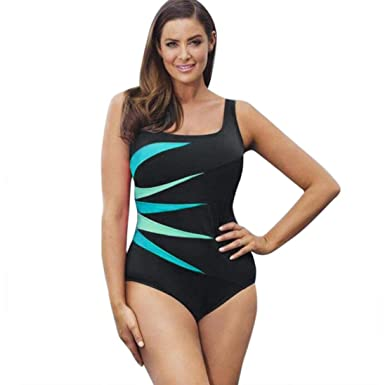 686340e91a Sexy Women s 1 Piece Monokini Swimwear Swimsuit Striped Patchwork Push-Up  Bikini Padded Swimwear Plus