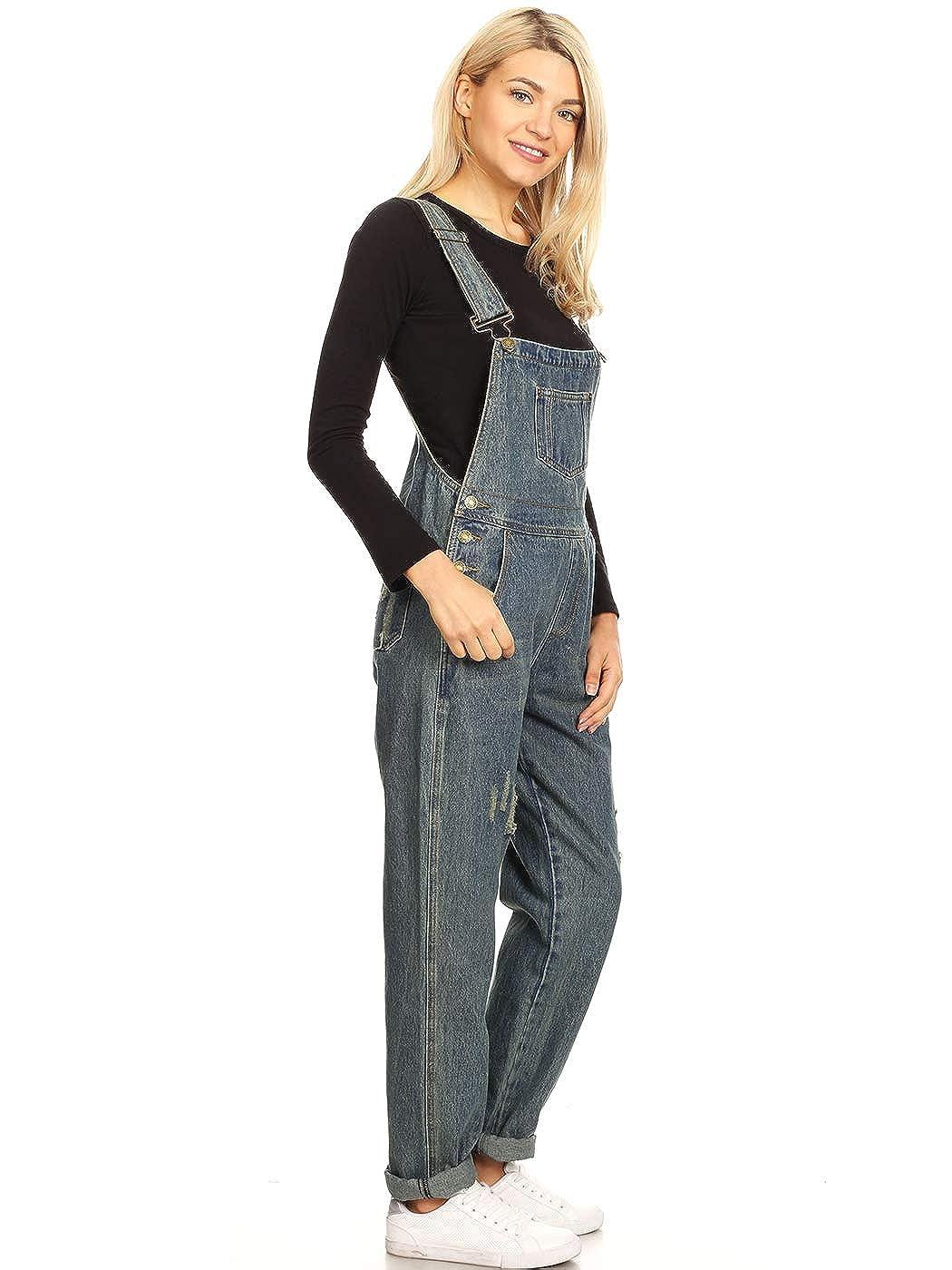 d01ce29d74 Anna-Kaci Womens Vintage Distressed Skinny Leg Denim Overalls with Pockets