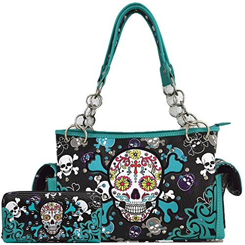 Sugar Skull Day of the Dead Cross Bone Concealed Carry Purse Women Cross Body Handbag Shoulder Bag Wallet (Teal Handbag/Wallet)
