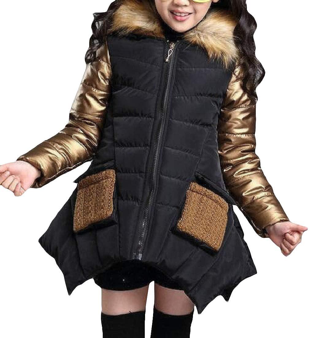 Cromoncent Little Kids Girls Stylish Spell Color Fleece Faux Fur Hooded Irregular Parka Jackets Coat