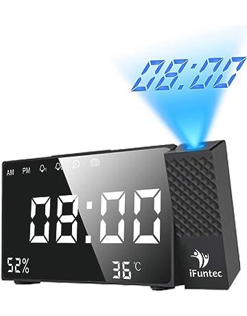 iFunTec Radio Réveil à Projection, Radio-reveil Projection Projecteur Horloge Réveil USB Avec Double