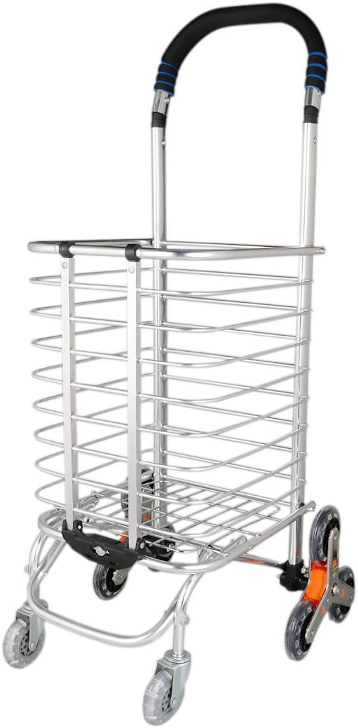 uxcell Folding Shopping Cart, Stair Climbing Cart Holds Up to 110 Lbs, Weight Trolley with Rolling Eight-Wheel Bold for Laundry, Grocery, Camping and Sport Events, Silver White