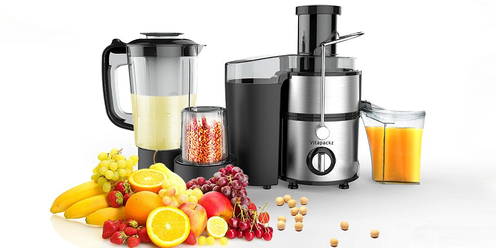 Vitapackz Multi-Functional 3 in 1: Juicer, Blender & Grinding Machine I Fruit Vegetable Centrifugal Stainless Juicing Machine I Juice Extractor I Smoothie Soup Blender I Seeds Coffee Pepper Salt Grinder