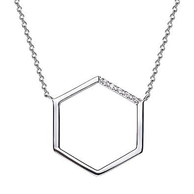 Aienid Bijoux Collier Argent Femme Zirconium Argent 925 Collier Femme  Argent Hexagone Argent Collier 5a6e56dcbb68