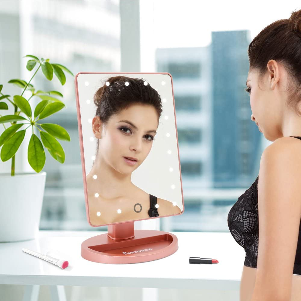 Lighted Vanity Mirror with 21 LED Lights and Touch Screen