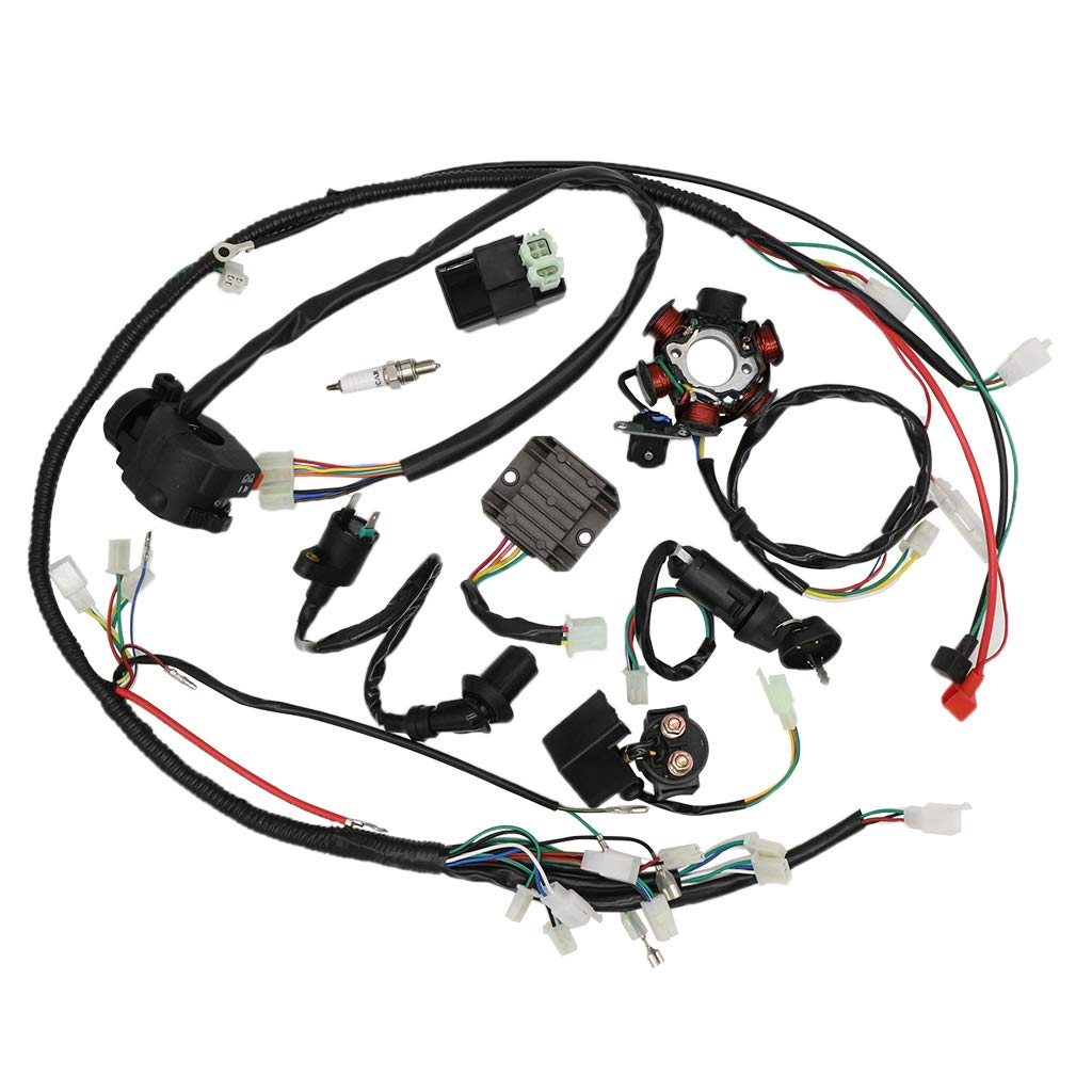 OTOHANS AUTOMOTIVE Complete Wiring Harness kit Electrics Wire Loom Assembly with Full Copper Wire For GY6 4-Stroke Four wheelers Engine Type 125cc 150cc Pit Bike Scooter ATV by OTOHANS AUTOMOTIVE
