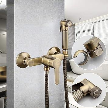 LANZHEN-RY Ducha grifos bidé Nuevo Limpiador de baños Antiguos de Bronce Juego de Ducha de Mano Limpia la Pistola de rociado pulverizador bidé grifos de baño Ducha Bidet