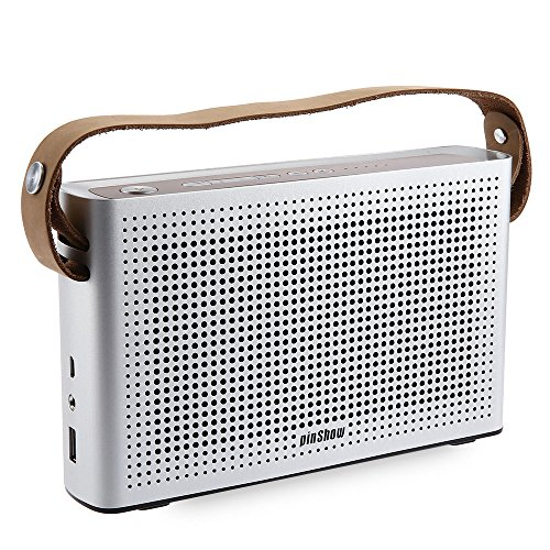PINSHOW Goldentime Cowhide Strap Portable Bluetooth 4.0 Wireless Speaker Support Power Bank Function (Silver) by PINSHOW (Image #1)