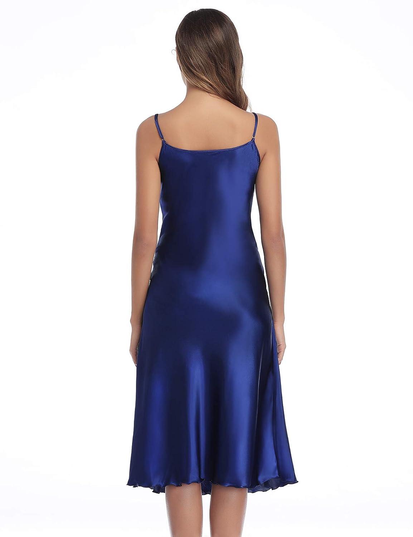 Hawiton Womens Stain Nightwear Babydoll Lingerie Long Dress Smooth Sleepwear Spaghetti Strap Dress