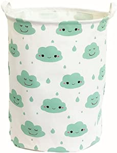 TIBAOLOVER19.7 Large Sized Waterproof Foldable Laundry Hamper Bucket,Dirty Clothes Laundry Basket, Bin Storage Organizer for Toy Collection,Canvas Storage Basket with Stylish Cartoon Design(Cloud)