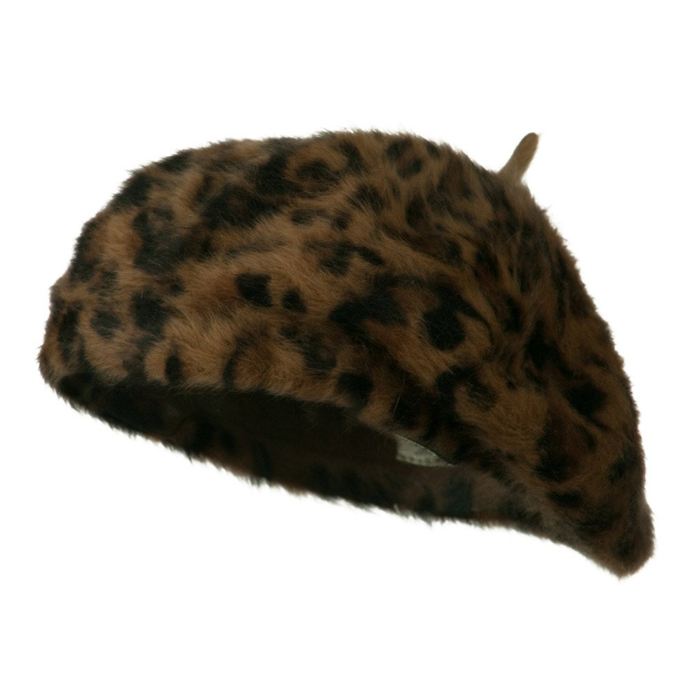 Cheetah Angora Beret - Brown OSFM