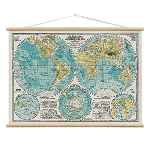 World Hemispheres Map Poster Hanger Kit Atlas Vintage Style 28 x 20 (Hemisphere Map)