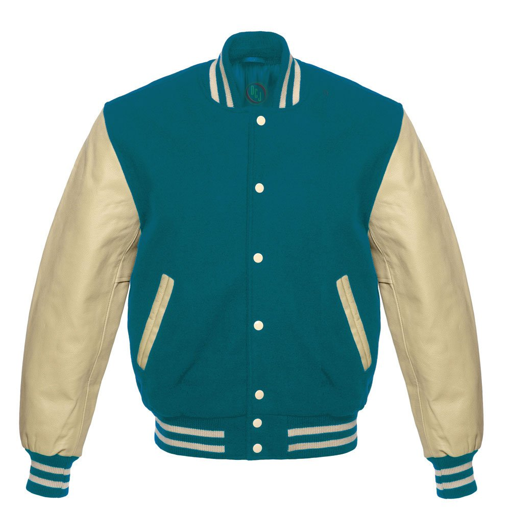 Design Custom Jackets Letterman Baseball Varsity Jacket Cream Sleeves