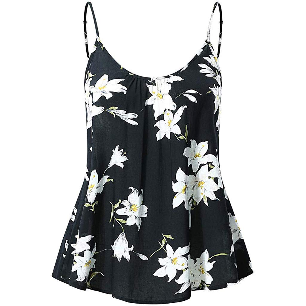 Deals! Women Tank Tops Summer Flare Floral Print Adjustable Strappy Blouse Tops Camis Tunic Shirt for Teen Girls Black