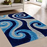 Allstar 5 X 7 Blue Modern Soft 3D Spiral Design Area Rug (5′ X 7′) For Sale