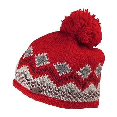b597854bdc6e63 Kusan Hats Wool Bobble Beanie Hat - Red 1-Size: Amazon.co.uk: Clothing