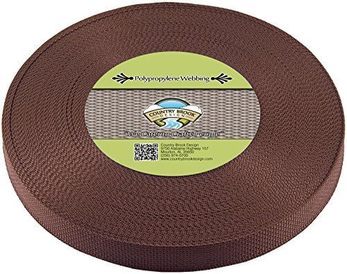 Country Brook Design 1 Inch Milk Chocolate Polypro Webbing, 25 Yards