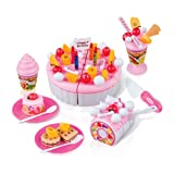 FUDAER DIY Cutting Birthday Cake Dessert Pretend Play Food Toys with Candles for Kids Girls Pink 73Pcs