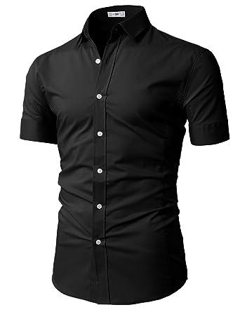 H2h Mens Casual Slim Fit Shirts Short Sleeve Business Shirt Basic