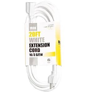 20 Ft White Extension Cord - 16/3 Durable Electrical Cable