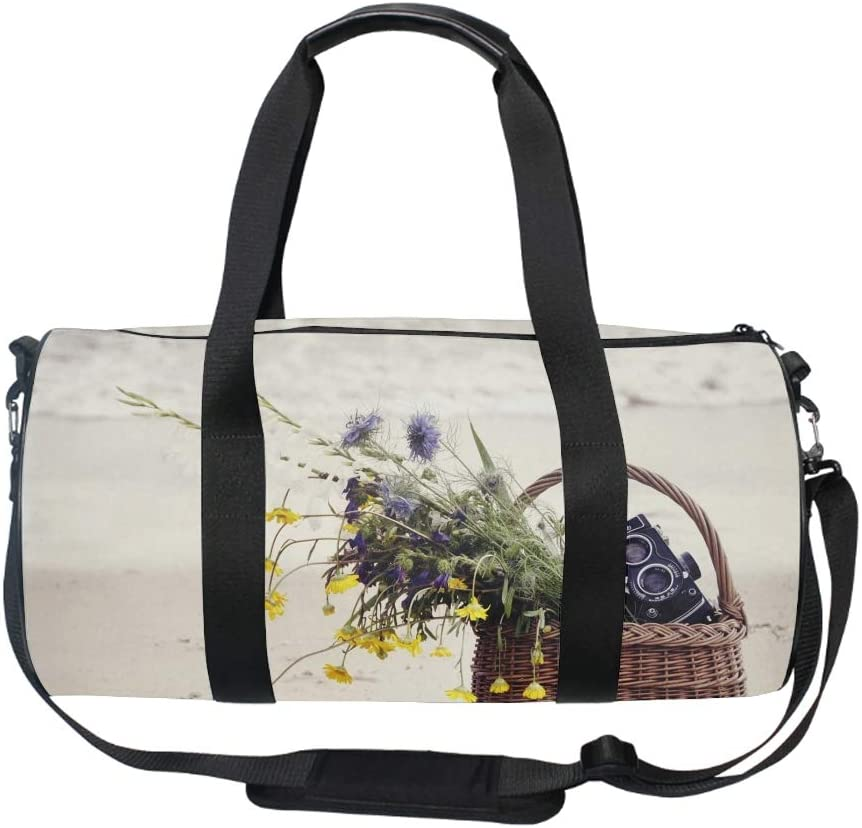 Zippered Compartments Flowers And Camera Duffel Style Carry On Sports Travel Bag with Shoulder Strap
