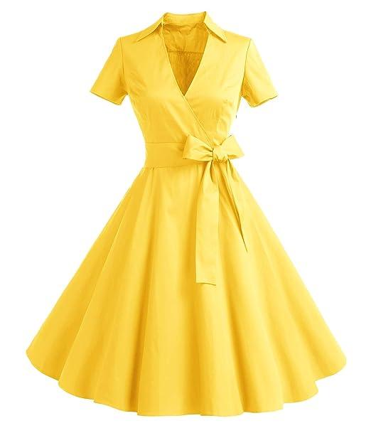 805844c58 Timormode Mujer ALínea Manga Corta Retro 1950s Vintage Prom Vestidos