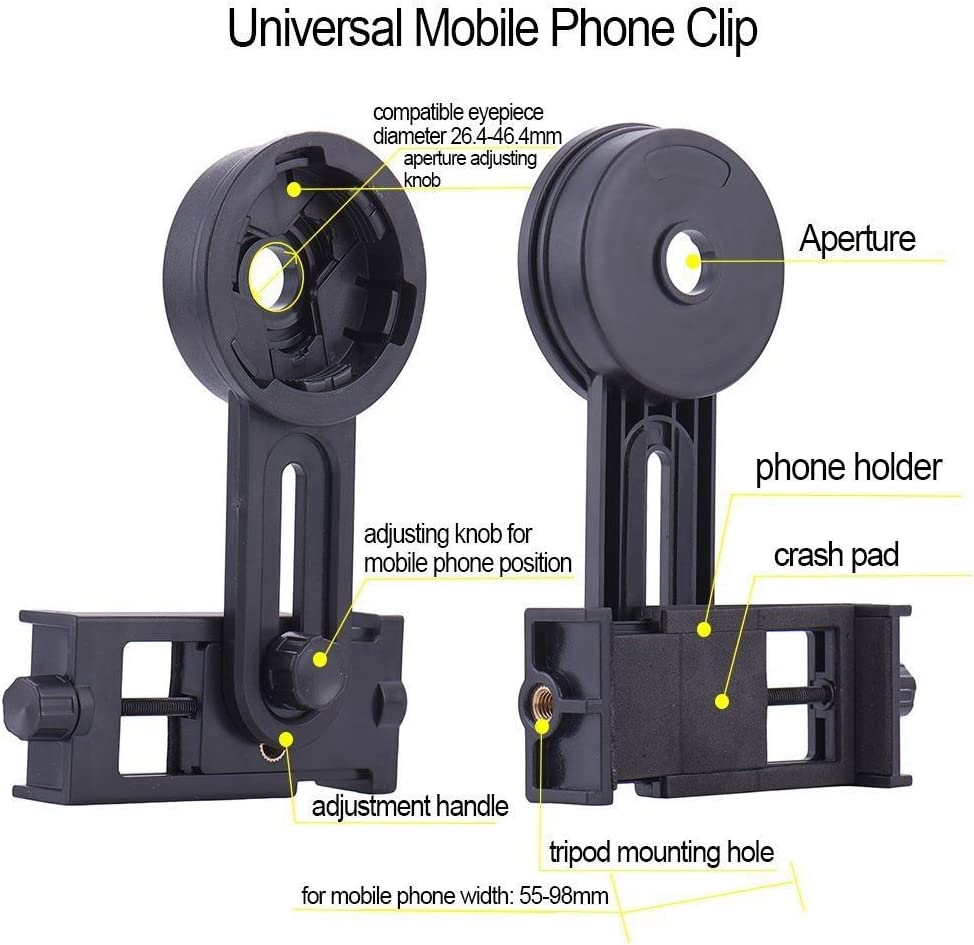 ayamaya Universal Smartphone Adapter Mount Telescope Connection Stand Holder Compatible with Binocular Monocular Spotting Scope Telescope and Microscope for Eyepiece Diameter 26mm to 46mm