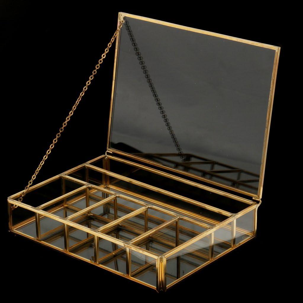 20 x 15 x 5cm Cobre Caja de Cristal Cuadrada Geom/étrica Moderna de Torrecilla con Marco de Metal Robusto 7 Rejillas de DIY para Planta//Flor//Planta Grasa