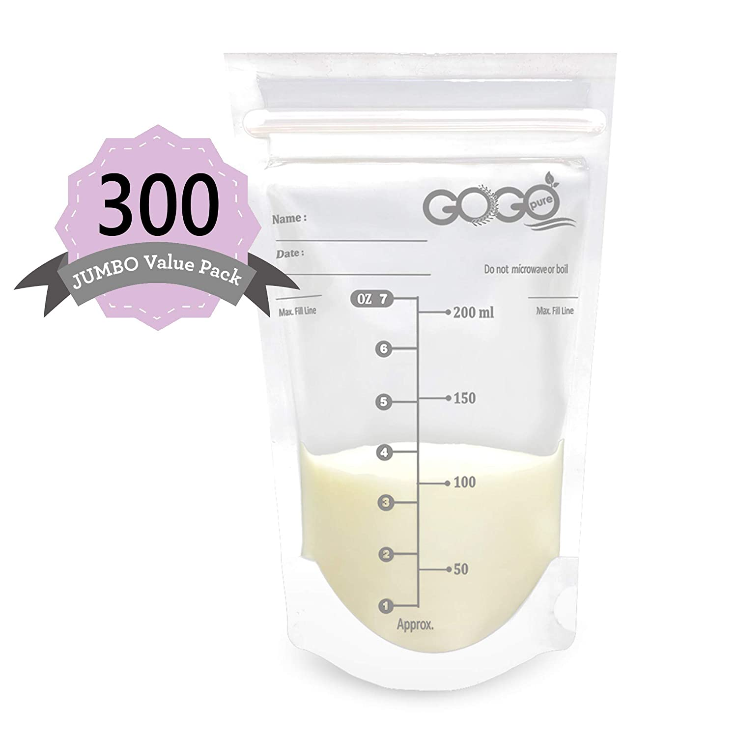 300 Count (5 Pack of 60 Bags) Jumbo Value Pack Breastmilk Storage Bags - 7 OZ, Pre-Sterilized, BPA Free, Leak Proof Double Zipper Seal, Self Standing, for Refrigeration and Freezing - Only at Amazon