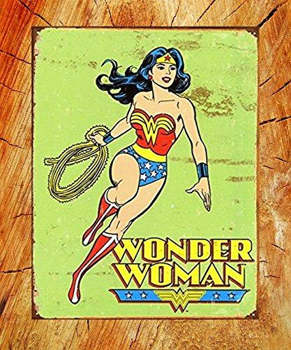 Wonder Woman Wall Art UNiQ Designs Vintage Wonder Woman Retro Tin Sign Wonder Woman Accessories Wonder Woman Decor Retro Poster 12x8 Woman Cave signs and Decor Wonder Woman Poster Discount