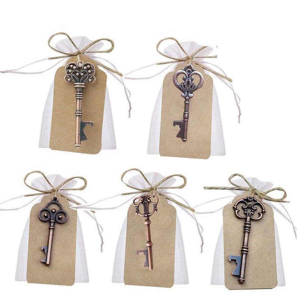 Awtlife 50 Pcs Key Bottle Opener and Sheer Bag for Wedding Party Favors