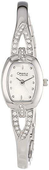 Amazon.com: Caravelle by Bulova Womens 43L62 Swarovski Crystal Accented Silver and White Dial Watch: All American Watches: Watches