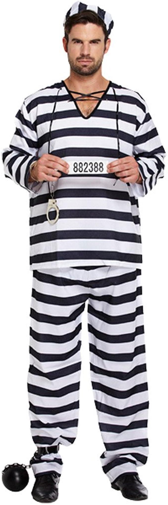 Adultos blanco y negro macho disfraz de Preso Convicto [estándar ...