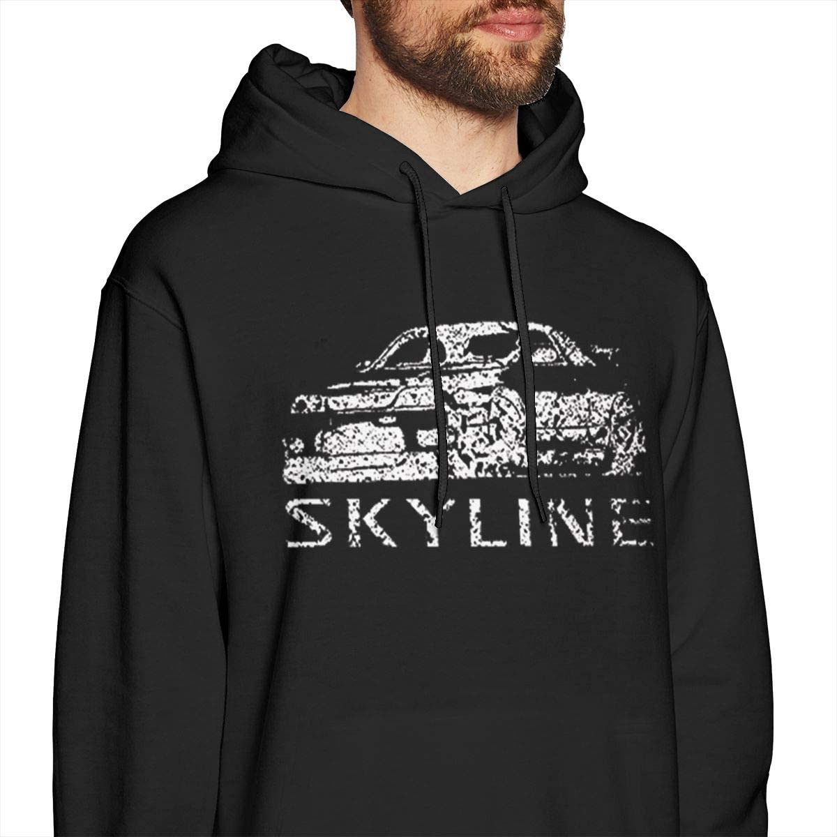 BambooPavilion Men Distressed Nissan Skyline R34 AWD Turbo Loose with Black Hoodie Sweatshirt Jacket Pullover Tops