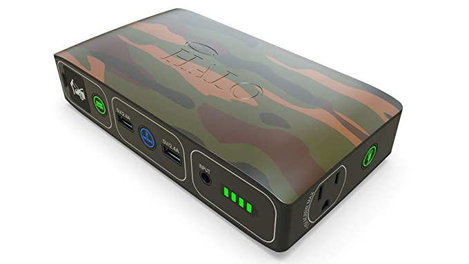 Halo Bolt 58830 mWh Portable Phone Laptop Charger Car Jump Starter with AC Outlet and Car Charger - Camouflage