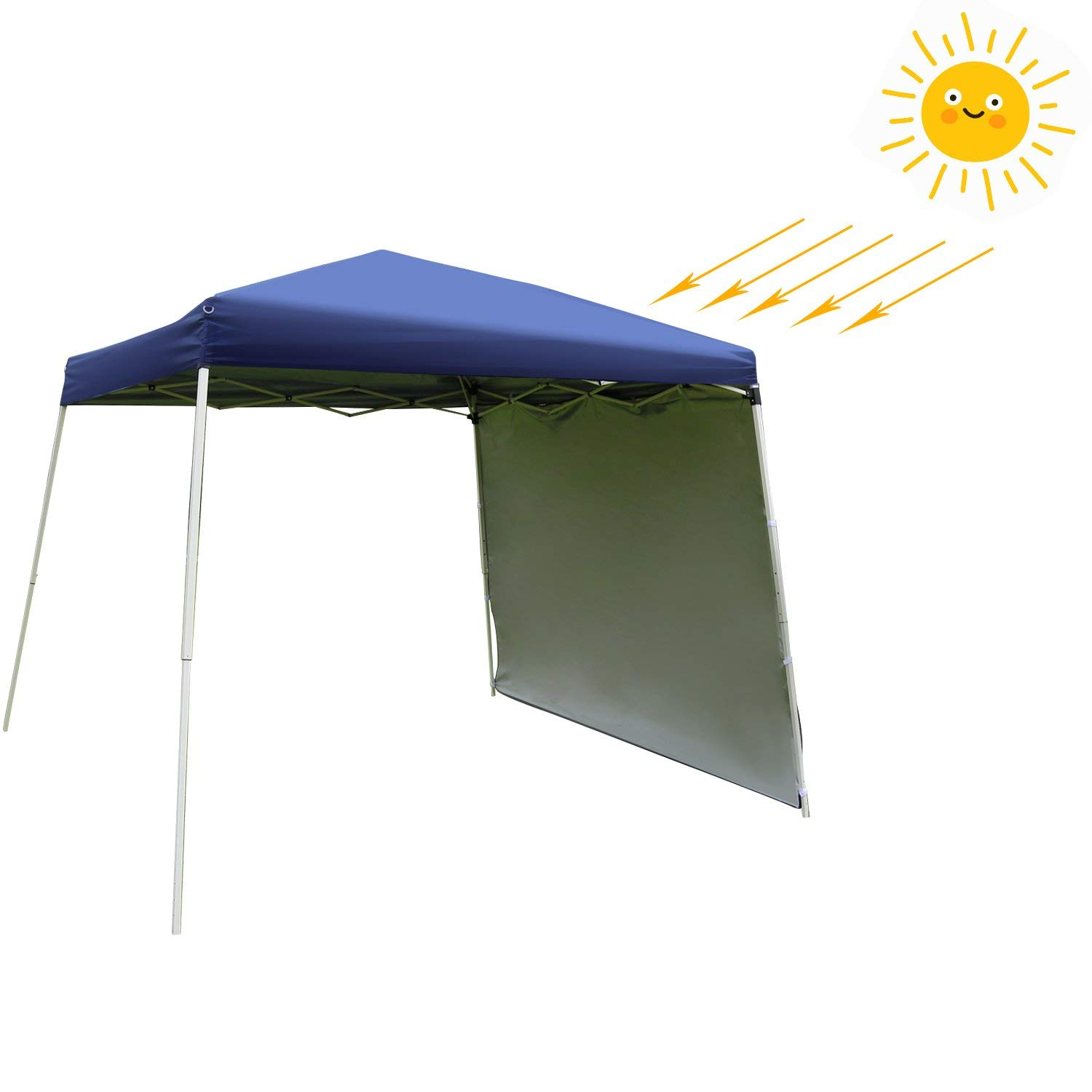 Kinbor Pop Up Canopy Tent with Removable Sidewall 10 x 10 Feet, White - UV Coated, Waterproof Instant Outdoor Party Gazebo Tent