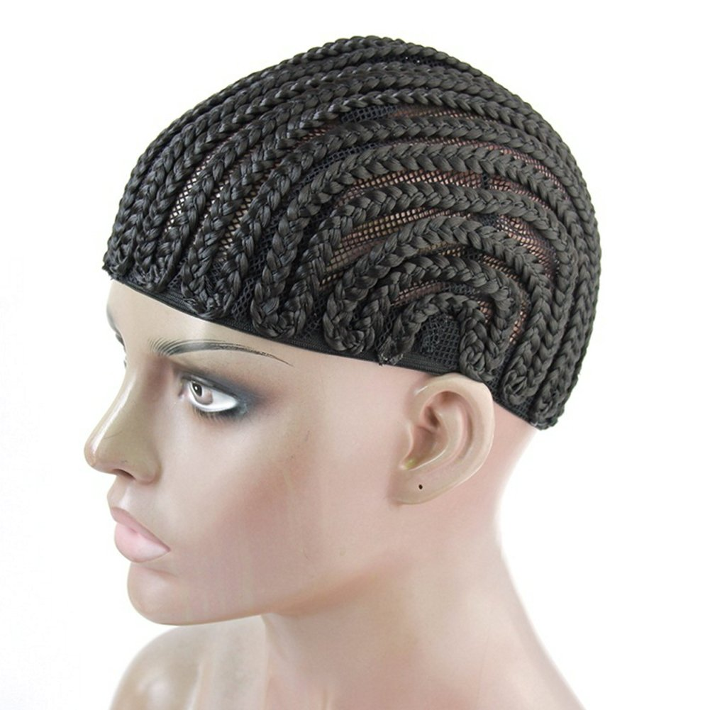 MY LIKE Clip in Cornrow Crochet Braided Wig Cap Braiding Wig Caps Crotchet Cornrows For Easier Sew In Caps for Making Wig (5pcs) by MY LIKE