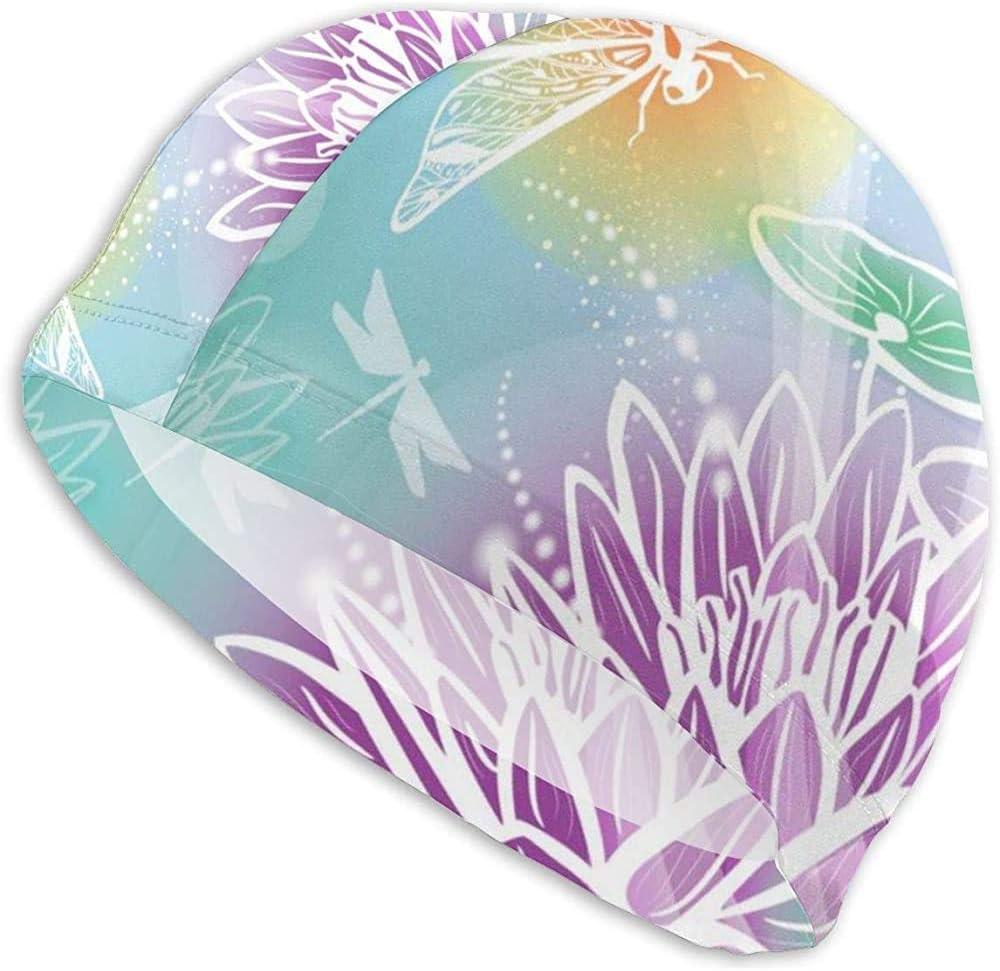 Maselia Fondo de Gorro de baño con Flores Gorras de Piscina de Gorro de baño Lotus y Dragonfly para Mujeres y Hombres