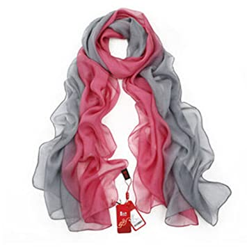 SIGI Ladies fashion Silk Scarf Gradient colour Shawl Scarves (red ... 809816215ff64