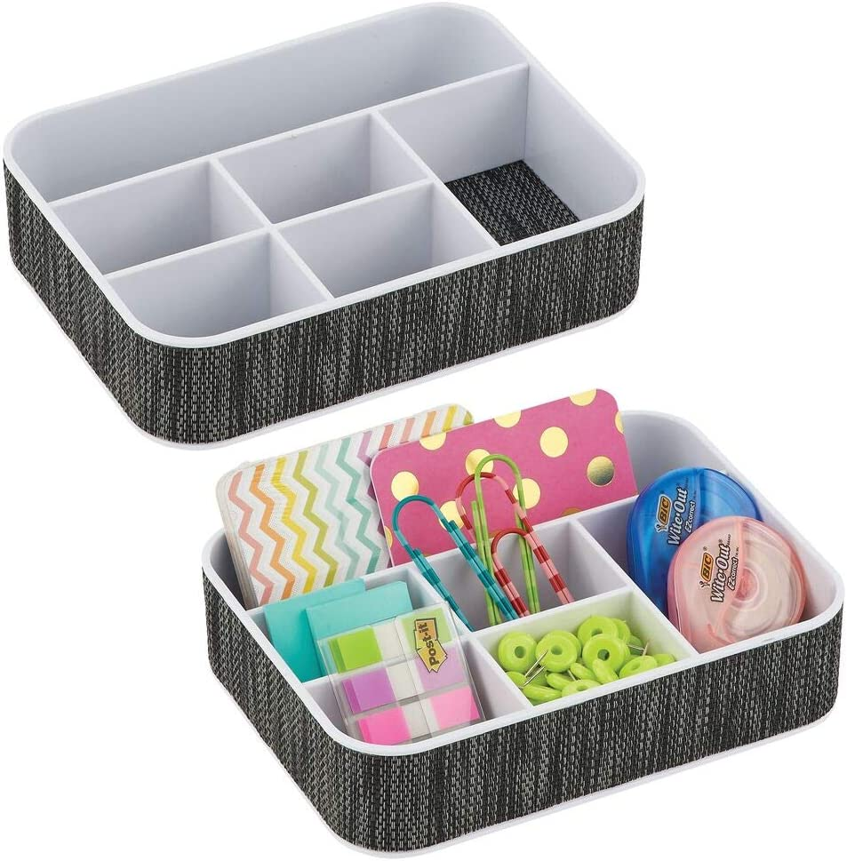 mDesign Plastic Woven Home, Office Storage Tray - Divided for Cabinet, Countertop, Desk, Workspace - for Gel Pens, Colored Pencils, Erasers, Tape, Paper Clips, 6 Compartments, 2 Pack - White/Black