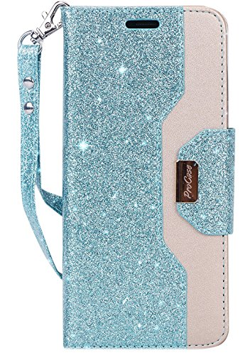 ProCase Galaxy S9 Plus Wallet Case, Flip Kickstand Case with Card Holders Mirror Wristlet, Folding Stand Protective Book Case Cover for 6.2 Inch Samsung Galaxy S9+ (2018 Release) -Glitter Blue
