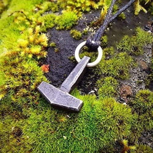 blacksmith Hand forged Mjolnir pendant iron Thor hammer pendant Thors Viking necklace moon Moon necklace Mjolnir Viking jewelry