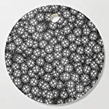 Society6 Wooden Cutting Board, Round, Poker chips B&W / 3D render of thousands of poker chips by grandeduc