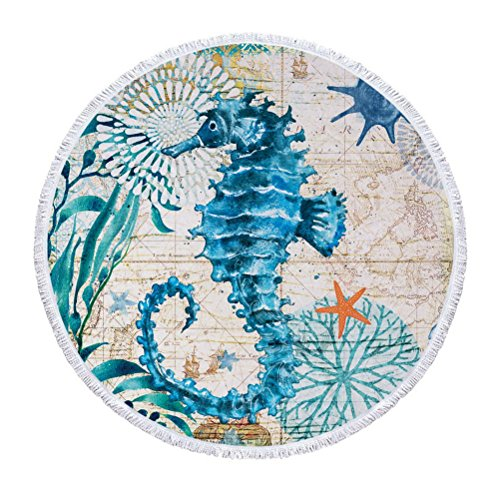 Wencal Ocean Style Sea Horse Large Thicker Terry Cloth Round Beach Towel Blanket with Tassels Ultra, 60 Inch in Diameter