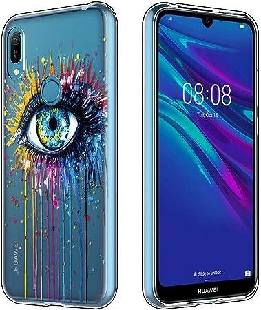 ZhuoFan Cover Huawei Y6 2019, Custodia Cover Silicone Trasparente con Disegni Ultra Slim TPU Morbido Antiurto 3d Cartoon Bumper Case Protettiva per ...