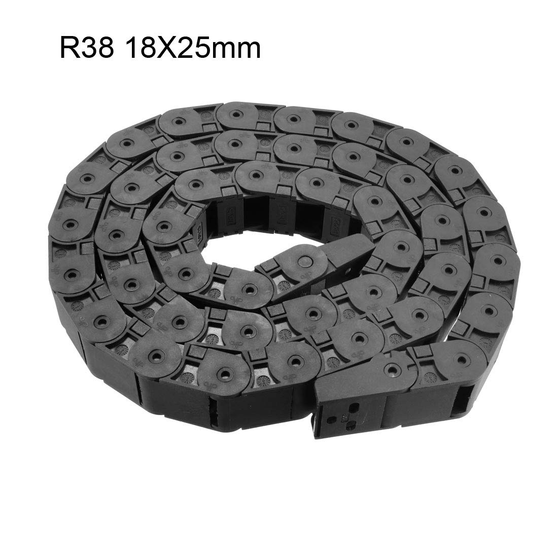 uxcell Drag Chain Cable Carrier Open Type with End Connectors R55 25X38mm 1 Meter Plastic for Electrical CNC Router Machines Black