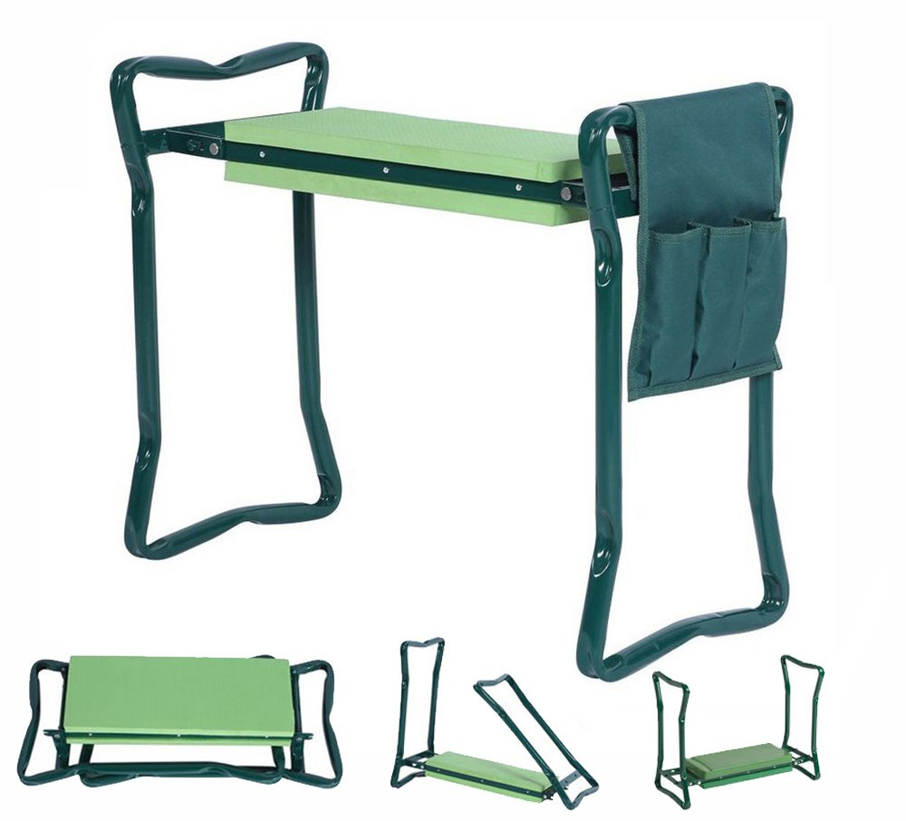 5Star Foldable Garden Kneeler With Handles And Seat - Bonus Tool Pouch - Portable Garden Stool - Thick EVA Pad (Large - 23.5 x 10.5 x 19'', Green)