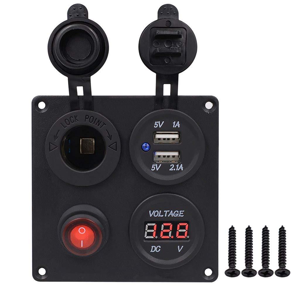 1 A /& 2,1 A Wohnmobil 12 V Steckdose LKW Boot GZCRDZ Dual-USB-Steckdosen-Ladeger/ät LED-Voltmeter 1 roter Knopf Wasserdichte An-//Aus-Kippschalter Panel f/ür Auto