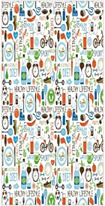 Decorative Privacy Window Film/Sports and Diet Balance Nutrition Bicycle Organic Fresh Food Poultry Juice Vitality/No-Glue Self Static Cling for Home Bedroom Bathroom Kitchen Office Decor Multicolor