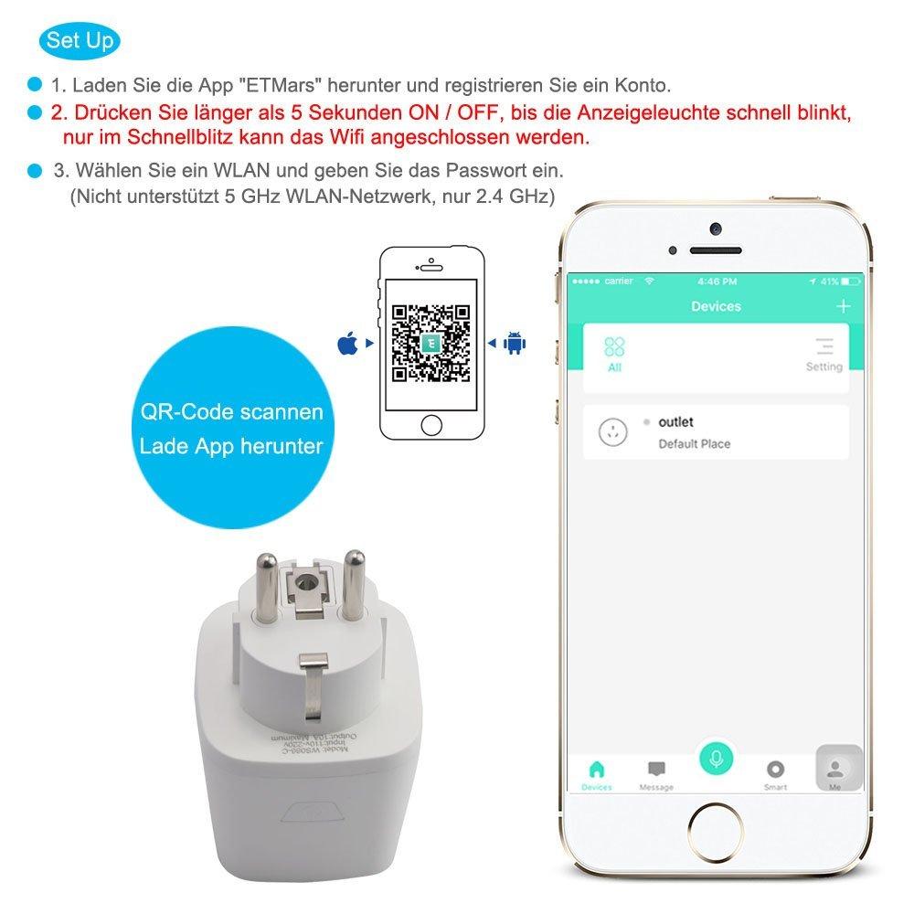 Wi-Fi Smart Steckdose - Mini Ausgänge Smart Socket Wireless Fernbedienung Timing Funktion Steuern Sie Ihre Elektrogeräte Kompatibel mit Amazon Alexa und Google Home